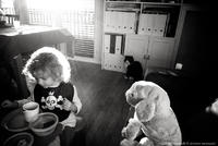 Bot dog, fat cat & little girl